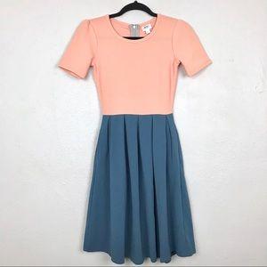 Lularoe Amelia Pink Blue Zip Back Dress Sz XXS